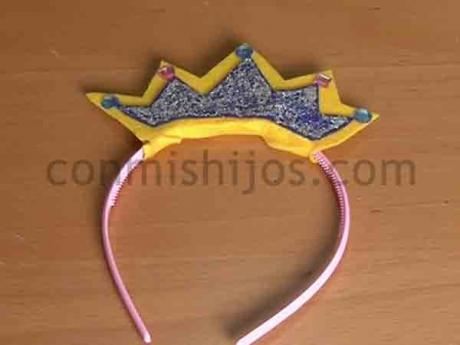 Diadema de princesa. Manualidades de Carnaval para niños