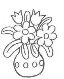 Dibujo de un florero con flores para pintar con niños