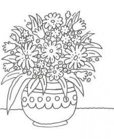 Dibujo de un jarrón con flores para colorear con niños
