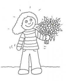 Dibujo de un niño con un ramo de flores para pintar