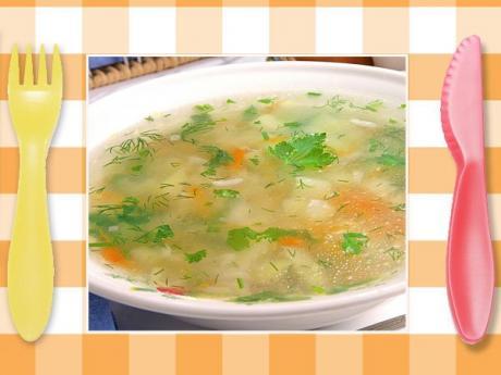 Sopa de verduras con jamón. Recetas rápidas para niños