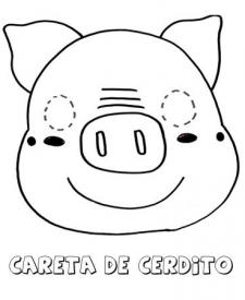 Careta de cerdo. Dibujos para colorear con los niños