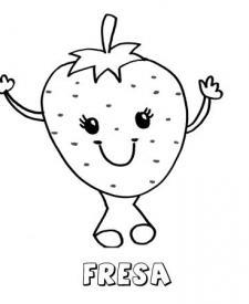 Dibujo de una fresa. Imágenes para pintar con niños