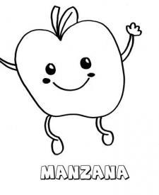 Dibujo de una manzana. Imágenes para pintar con niños