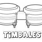 Timbales para colorear. Dibujos de instrumentos musicales