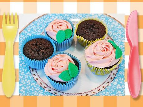 Cupcakes en forma de rosa. Receta fácil para niños
