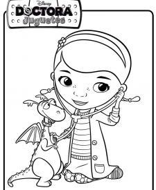 Dibujo de la Doctora Juguetes con un dragón. Dibujos de Disney