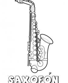 Saxofón para colorear. Dibujos de instrumentos musicales