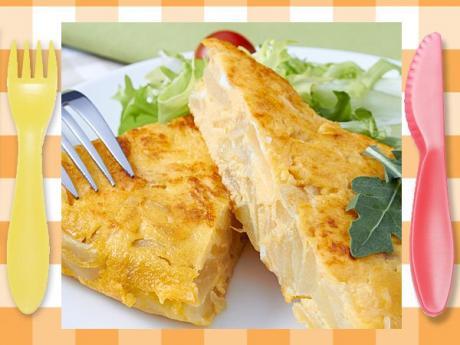 Tortilla de patata. receta tradicional para niños