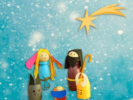 Manualidad de Belén navideño con materiales reciclados