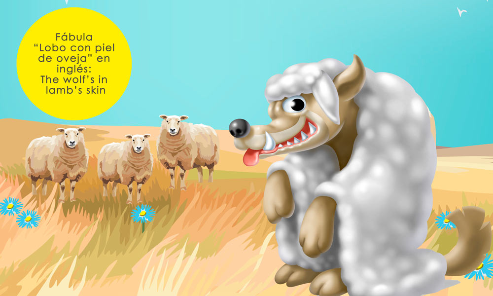 Lobo con piel de oveja, cuento en inglés