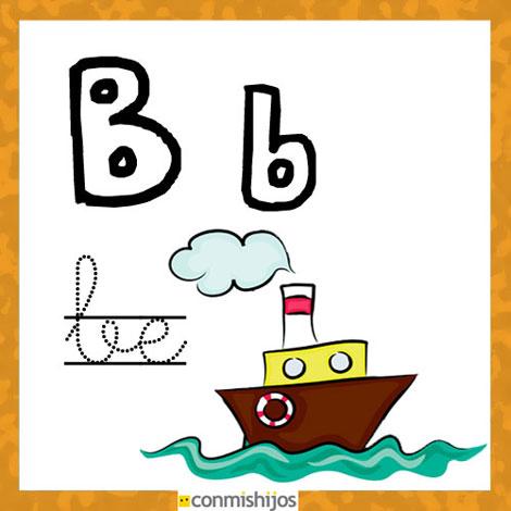 Fichas para aprender las letras y colorear. Letra B