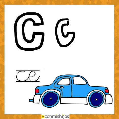 Fichas para aprender las letras y colorear. Letra C