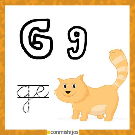 Fichas para aprender las letras y colorear. Letra G