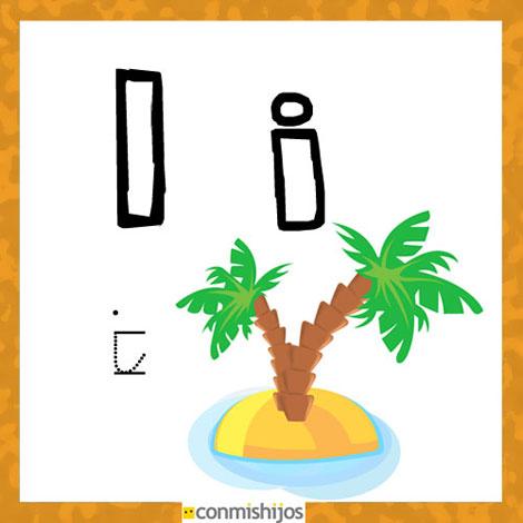 Fichas para aprender las letras y colorear Letra I