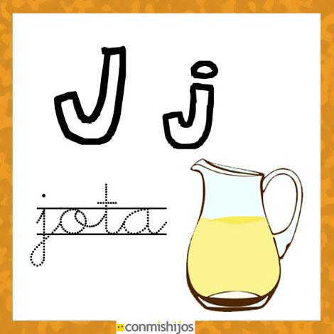 Fichas para aprender las letras y colorear. Letra J