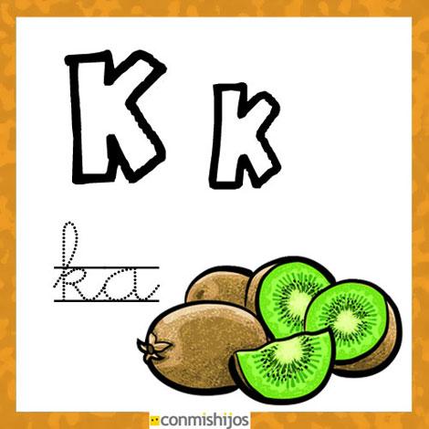 Fichas para aprender las letras y colorear. Letra K