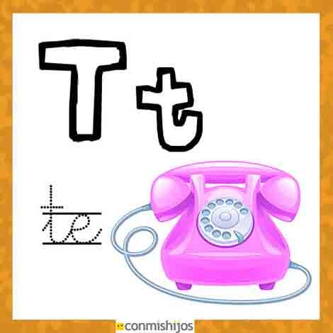 Imprimir Fichas para aprender las letras y colorear Letra T