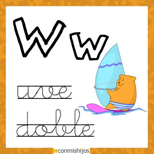 Fichas para aprender las letras y colorear. Letra W