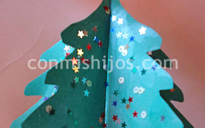 Rbol de navidad en 3d manualidades infantiles con cartulina - Manualidades de navidad para ninos pequenos ...