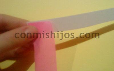 Manualidad peluca rosa. Paso 3.