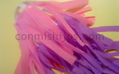 Manualidad peluca rosa. Paso 5.
