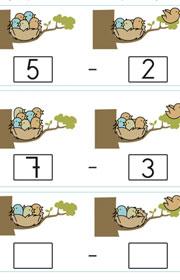Aprender a restar. Ficha de matemáticas para niños