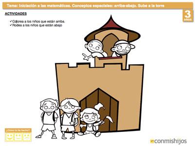 Ficha de matemáticas para niños. Concepto arriba y abajo