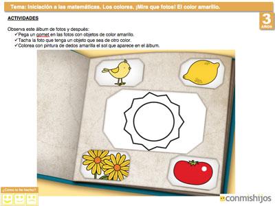 El color amarillo. Ejercicio para aprender los colores