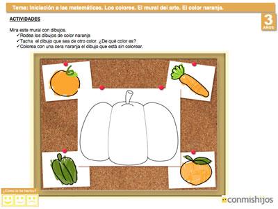 El color naranja. Ejercicio para aprender los colores
