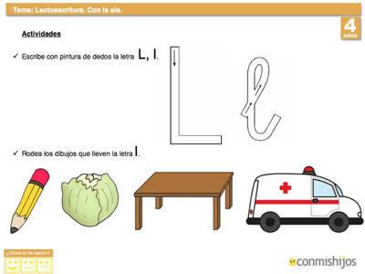 Letra L. Ficha de lectoescritura para niños