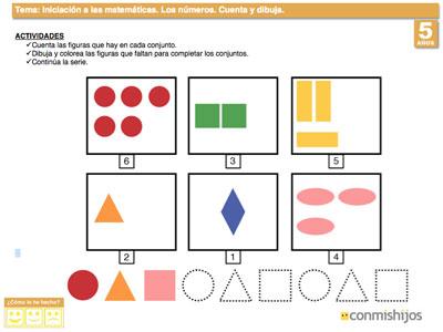 Contar Y Dibujar Hasta El 6 Ejercicios De Los Números Para