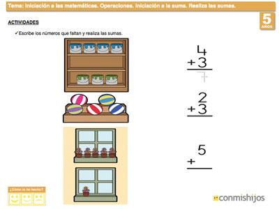 Ejercicio de sumas. Ficha de matemáticas para niños