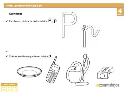Escribir La Letra P Lectoescritura Para Niños