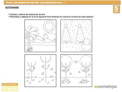 Ficha de las estaciones del año para niños de 5 años