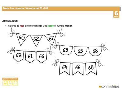 Repasar Los Números Del 60 Al 69 Tareas De Matemáticas