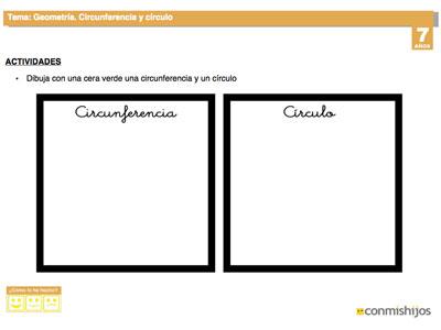 Circunferencia y círculo. Fichas de geometría para niños