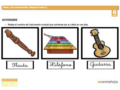 La letra X. Fichas escolares de lectoescritura