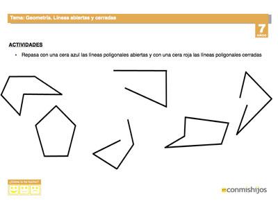 Líneas abiertas y cerradas. Ficha de geometría para niños