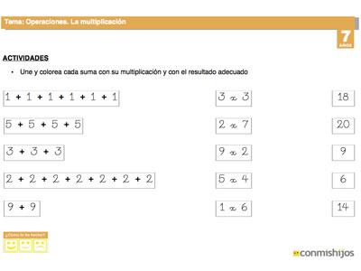 Ficha de la multiplicación. Tareas escolares de matemáticas