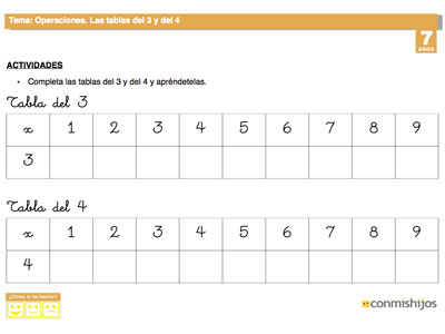 Ficha escolar para nios Las tablas de multiplicar del 3 y el 4