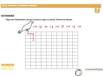 Orientación espacial. Fichas escolares para repasar matemáticas
