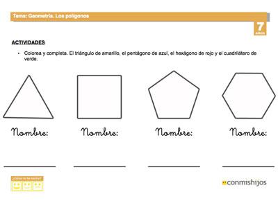 Ficha escolar de geometría. Los polígonos