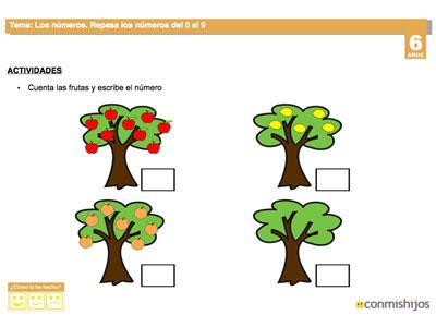 Ficha de repaso con frutas Los nmeros del 0 al 9