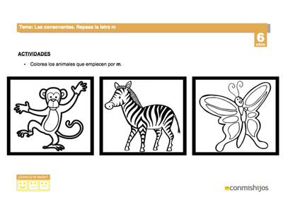 La letra M. Ficha de lectoescritura para niños