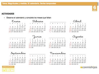 Calendario Para Ninos De Kinder.El Calendario Ficha Escolar De Series Temporales