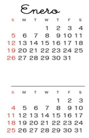 El calendario. Ficha escolar de series temporales