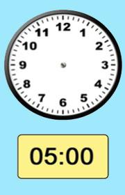 Ficha de las horas del reloj Hora en punto y la media hora