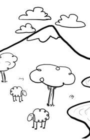 Fichas escolares de matemáticas. Observa las montañas
