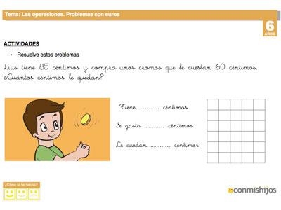 Problemas con euros. Ficha escolar de matemáticas